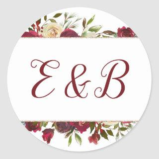 Mistletoe Manor Watercolor Winter Monogram Wedding Classic Round Sticker