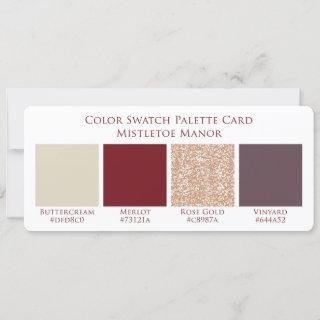 Mistletoe Manor Wedding Color Swatch Palette Card