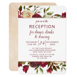 Mistletoe Manor Winter Floral Wedding Reception Invitations
