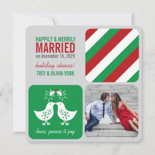 Mistletoes Kissing Chicks Mr And Mrs Photo Wedding Holiday Card