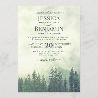 Misty Green Pine Forest Rustic Outdoors Wedding Invitations