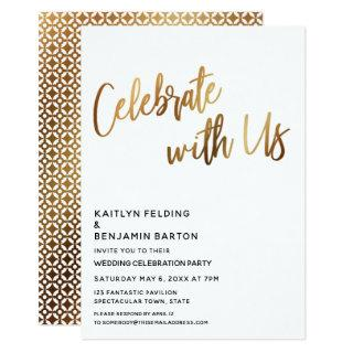 Moden Celebrate With Us Gold Wedding Reception Invitations