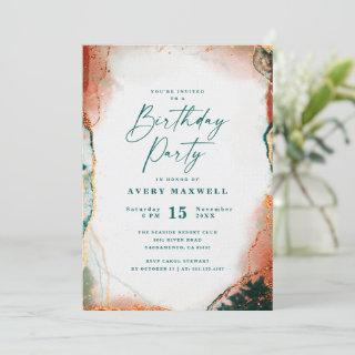 Modern Abstract Dark Teal & Copper Birthday Party