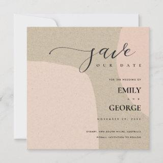MODERN ABSTRACT KRAFT BLUSH SAVE THE DATE CARD