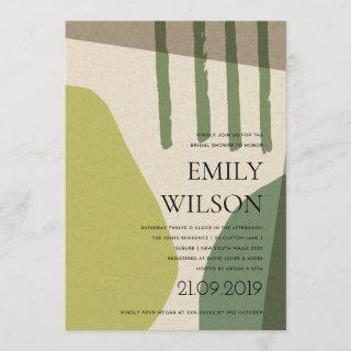 MODERN ABSTRACT LIME GREEN ARTISTIC BRIDAL SHOWER Invitations