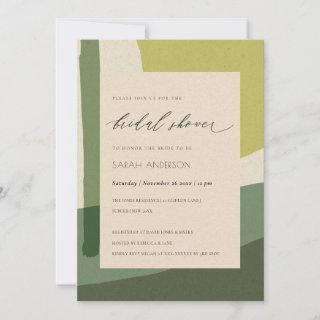 MODERN ABSTRACT LIME GREEN ARTISTIC BRIDAL SHOWER
