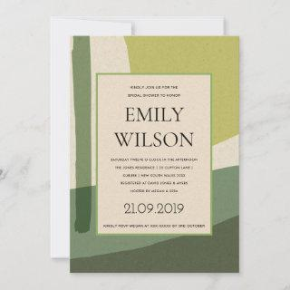 MODERN ABSTRACT LIME GREEN ARTISTIC BRIDAL SHOWER INVITATION