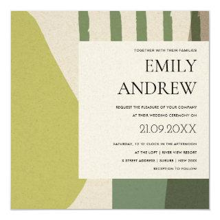 MODERN ABSTRACT LIME GREEN KRAFT ARTISTIC WEDDING INVITATION