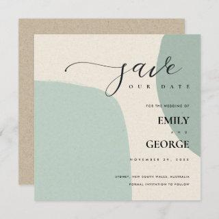 MODERN ABSTRACT SOFT AQUA BLUE SAVE THE DATE CARD