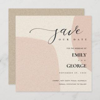 MODERN ABSTRACT SOFT BLUSH PINK SAVE THE DATE CARD