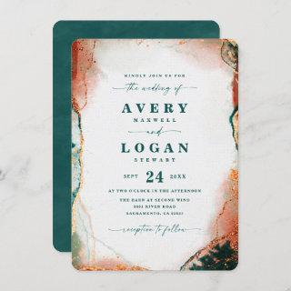 Modern Abstract Teal Copper & Gold Fall Wedding Invitations