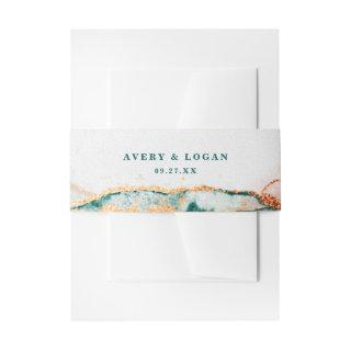 Modern Abstract Teal Copper & Gold Fall Wedding Invitations Belly Band