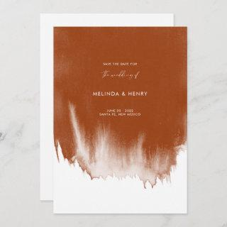 Modern Abstract Terracotta Watercolor Wedding  Save The Date