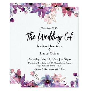 Modern Abstract Watercolor Florals The Wedding Of Invitation