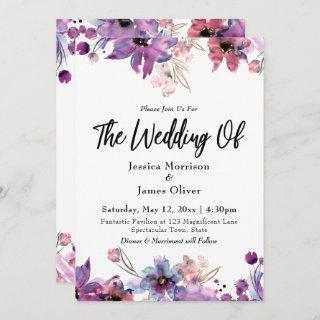 Modern Abstract Watercolor Florals The Wedding Of Invitations