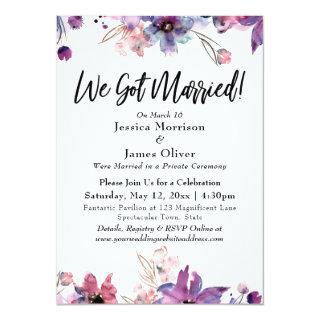 Modern Abstract Watercolor Florals We Got Married! Invitation