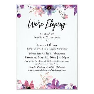 Modern Abstract Watercolor Florals We're Eloping Invitations