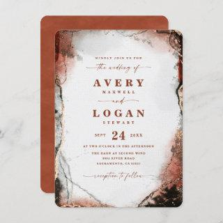 Modern Abstract Watercolor in Fall Colors Wedding Invitations