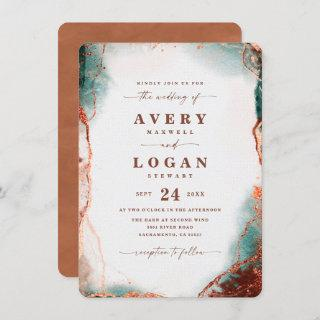 Modern Abstract Watercolor Terracotta Wedding Invitations