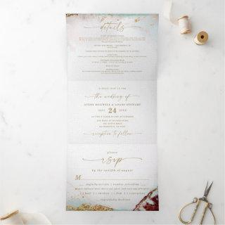 Modern Abstract Wine Red & Gold Winter Wedding Tri-Fold