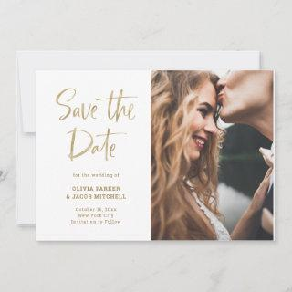 Modern and Elegant Faux Gold | Photo Save The Date