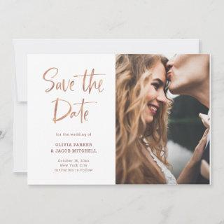 Modern and Elegant Faux Rose Gold | Photo Save The Date