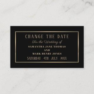 Modern and Sleek, Black and Gold, Change the Date Enclosure Card