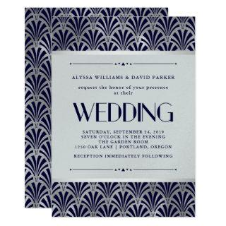 Modern Art Deco | Navy and Faux Silver Wedding Invitations