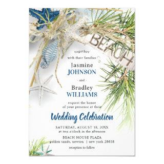 Modern Beach Theme Wedding Invitation