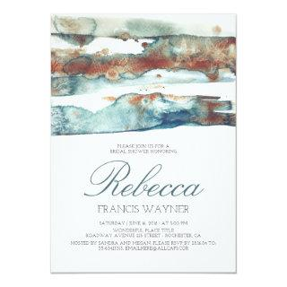 Modern Beach Watercolor Swash Bridal Shower Invitations
