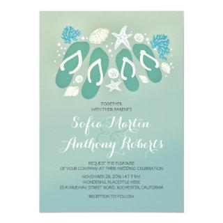 modern beach wedding Invitations with flip flops