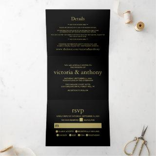 Modern Black and Gold Wedding Suite Tri-Fold Invitations