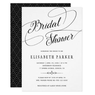 Modern black and white calligraphy bridal shower invitation