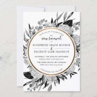 Modern Black and White Floral Vow Renewal