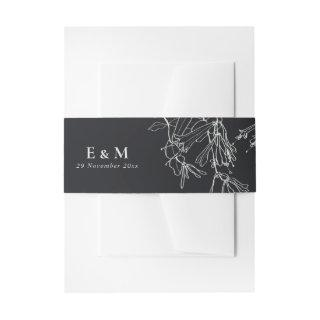 MODERN BLACK AND WHITE LINE DRAWING FLORAL WEDDING INVITATION BELLY BAND