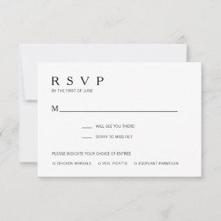 Modern Black and White Meal Choice Wedding RSVP Card