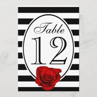 Modern Black and White Red Rose Wedding Table Card