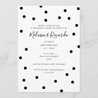 Modern Black and White Rehearsal Dinner Invitation