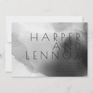Modern Black and White Romantic Moody Minimalism Save The Date
