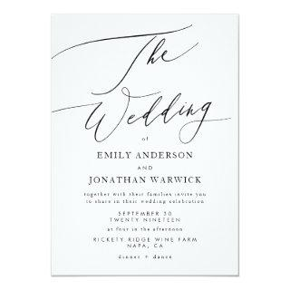 Modern Black and White Simple Wedding Invitations