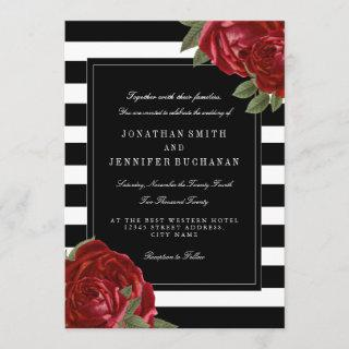 Modern Black and White Stripes Wedding Suite Invitations