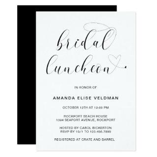 Modern Black and White Typography Bridal Luncheon Invitations