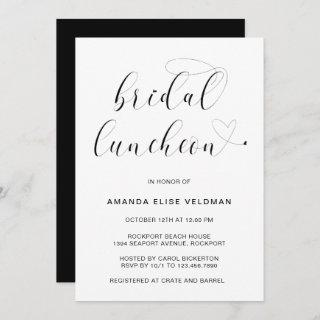 Modern Black and White Typography Bridal Luncheon Invitation