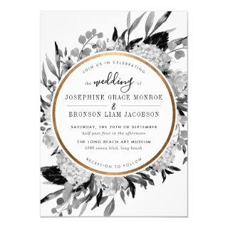 Modern Black and White Watercolor Floral Frame Invitations
