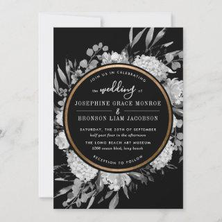 Modern Black and White Watercolor Floral Frame