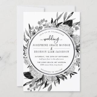 Modern Black and White Watercolor Floral Silver