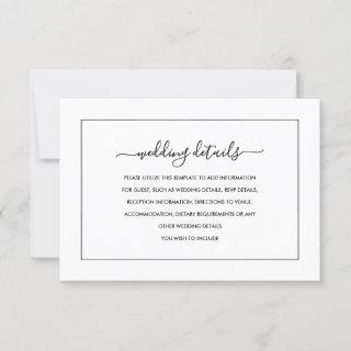 Modern Black And White Wedding Details Card