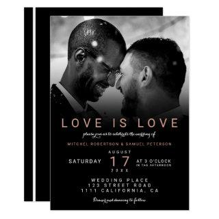 Modern black rose ombre photo gay wedding invitation
