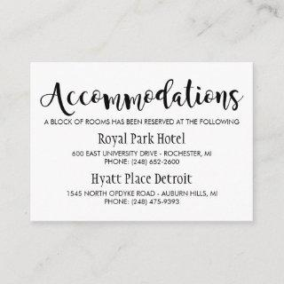 Modern Black Script Wedding Accommodations Enclosure Card