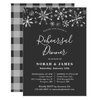 Modern Black Silver Winter Rehearsal Dinner Invitations